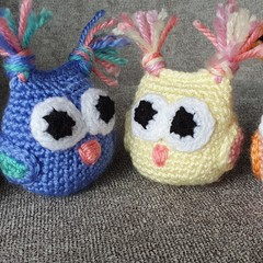 Set of Crochet Mini Owls Softies, Owl Amigurumi, Owl Decoration, Baby Mobile Owl