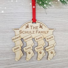 Personalised Family Christmas Tree Ornaments - Pine