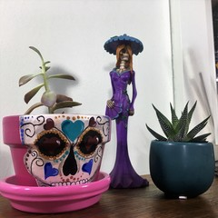 Heart Sugar Skull pots - 2 sizes available - choice of colour