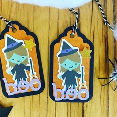Halloween 5 x witch  tag gift card handmade - free Aus Post