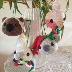 Crochet Christmas Australian Animal Baubles