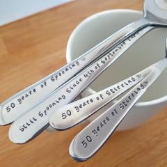 Custom Anniversary Spoon Set, Still Spooning, 50th Wedding Anniversary,