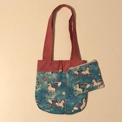Blue unicorns handbag and purse