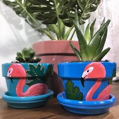 Flamingo Pots - 2 sizes available - choice of colour