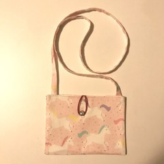 Pale pink unicorns cross-body bag
