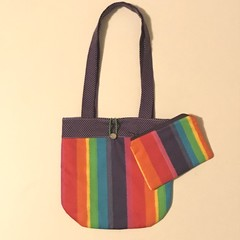 Rainbow stripes handbag and purse