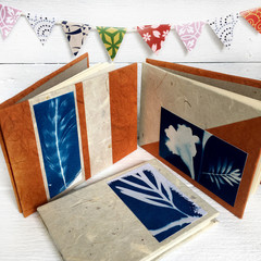 Set of 3 handmade notebooks, handmade paper & cyanotype art covers, blank pages