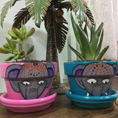 Elephant pots - 2 sizes available - choice of colours
