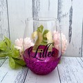 Personalised glitter birthday stemless wine glass, funny quote & name