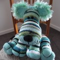 Lionel hand crocheted Lion: OOAK, Washable, shades of green, unisex