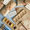 Travel Palette, handmade ceramic paint palette with paint brush rest and wrap