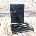Peacocks on black  Fabric Notebook Cover