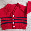 4-5 yrs: Hand knitted Cardigan, washable, unisex