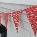 """Christmas Fabric Bunting Red & White themed """"FREE POST"""""""