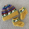 Yellow baby beanie and Matching Booties - up to 4 months - Hand knitted