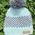 Newborn unisex baby boy or girl mint grey beanie PomPom fit to 6 months
