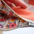 Half Moon Jewellery Pouch - Rust Linen/Floral