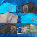 Embroidered quality cotton face masks - reversible