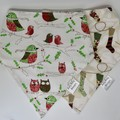 Twin Pack - Christmas  Bib Bandana Dribble - Reversible & Water Resistant