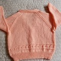SIZE 3 -4 yrs - Hand knitted red & white jumper: Acrylic, Washable, girl