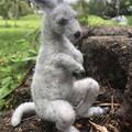 Needle felted animal, felted grey kangaroo, australian animal, OOAK, unique gift