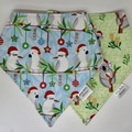 Twin Pack - Aussie Christmas  Bib Bandana Dribble - Reversible & Water Resistant