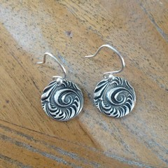 Recycled Silver textured and oxidised earrings