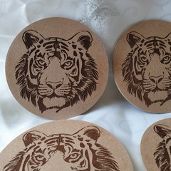 Wooden Coaster with cork backing Set of 4.