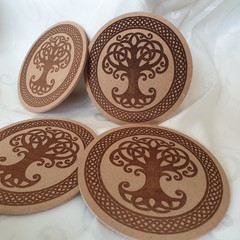 Celtic Tree of Life Wooden Coaster with cork backing Set of 4.