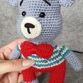 "Crochet Teddy Bear Soft Toy, Teddy Bear Amigurumi, ""Vincent"" cuddly Teddy Bear"