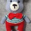 """Crochet Teddy Bear Soft Toy, Teddy Bear Amigurumi, """"Vincent"""" cuddly Teddy Bear"""