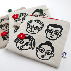 Screen Printed People - Cotton Canvas Zipper Pouch