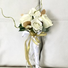 Off White  Rose Faux Flower Girl Wand