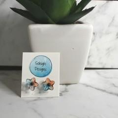 Blue and orange translucent flower stud earrings