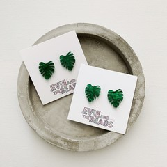 Green Monstera Leaf Studs