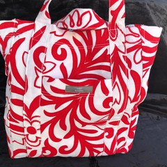 Red and White Vintage fabric shopping bag