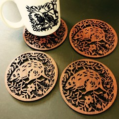 Bandicoot jarrah coasters (set of 4)
