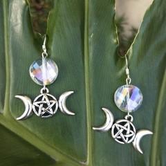 Triple moon hanger with sun catcher glass bead earrings.
