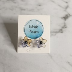 Blue and yellow translucent flower stud earrings