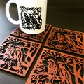 Carnaby Cockatoo's jarrah coasters (set of 4)