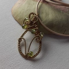 Brass wire V symbol letter wire wrapped vegan pendant