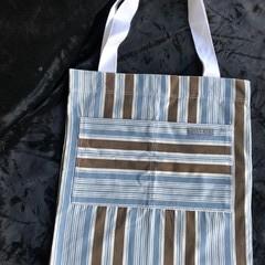 Blue/White/Brown striped Tote