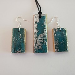 Cypress wood and coloured abstract resin earrings with matching pendant