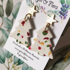 Christmas Marbled Tree Earrings | Gold Star Studs