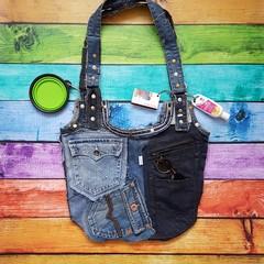 Huge Denim Beach Bag, Large Denim Tote, Denim Patchwork Bag, Denim Pocket Bag