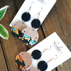 Rose Gold/ Floral Genuine Leather Earrings