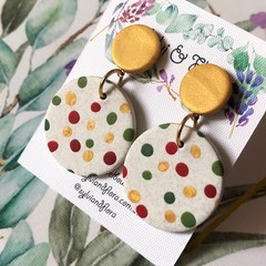Christmas Round Spotty Drops | Gold Stud Earrings