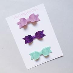 Bella Felt Bows | Available on Headband or Hair Clip. Trio Bow Pack