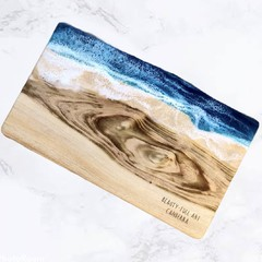 Resin Art Cheese Platter | Natural Edge Serving Board | Wooden Chopping Board