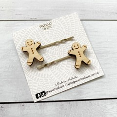 Gingerbread man hair pins / hair clips